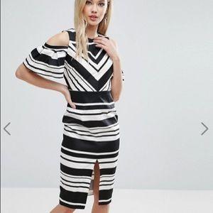 ASOS Shoulder Pencil Dress Black & White Stripe